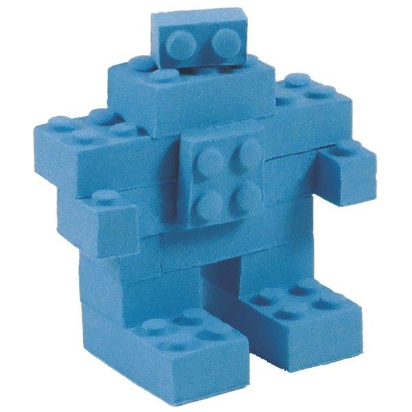 6 קוביות BrickMaker + ערכת בצק קינטי כחול/ורוד