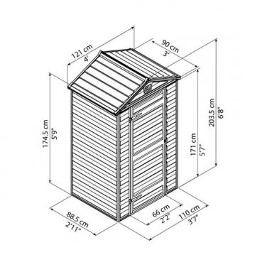 מחסן סקיילייט 4X3 אפור