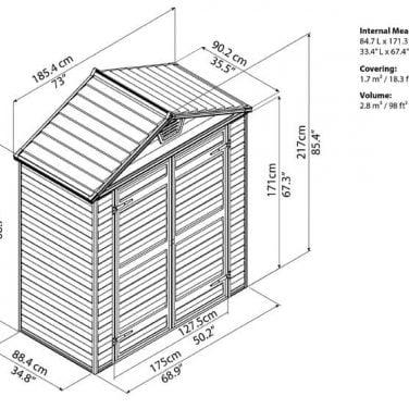 מחסן גינה סקיילייט 6x3 אפור/טאן